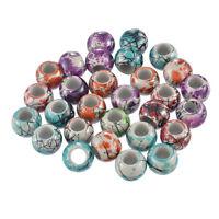 50 Mix Rund Blumen Acryl Spacer Beads Kugeln Großlochperlen 16mm