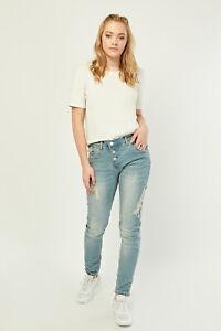 Ladies Faded Middle Blue Distressed BoyfriendFit Slim Denim Jeans.Size XS-8.S-10