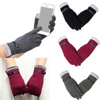 Ladies Gloves Touch Screen Winter Autumn Warm PU leather Cotton Fashion Bow Gift