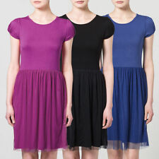 Knielange Damenkleider mit Rundhals-Ausschnitt ohne Muster für die Freizeit