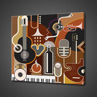 ABSTRACT MUSIC INSTRUMENTS CANVAS PICTURE PRINT WALL ART HOME DECOR