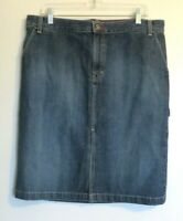 Tommy Hilfiger women's size 14 blue jean cotton denim skirt below knee straight