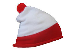 UNISEX RED WHITE BOBBLE KNITTED HAT FANCY DRESS BOOK DAY COSTUME ACCESSORY