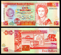 BELIZE 5 DOLLARS 1990 P 53 a PREFIX 'AA' QE II UNC