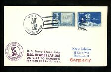 US Naval Ship Cover USS Hyades AF-28 Vietnam War 9/16/1966 Hamburg Germany Visit