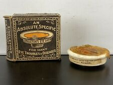 Antique Singleton's Eye Ointment Pharmacutical Ceramic Pottery Dish / Pot & Box