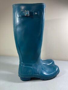 HUNTER ORIGINAL GREEN/TEAL W23616 TALL RAIN BOOTS SIZE 7 MEN'S 8 WOMEN'S