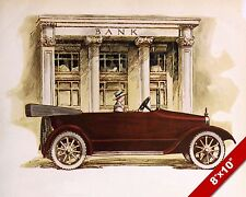 1920 CLASSIC AMERICAN MADE CARS PAINTING IN FRONT OF BANK VINTAGE AD ART PRINT