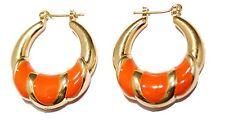 Orange Round Hoops 18K Gold Plated Hoops - Orange Round Huggies