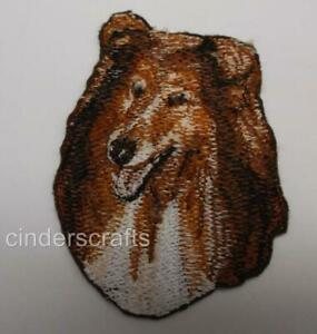 Machine Embroidered   Rough Collie Applique  Sizes  2.5W X 3.0H or 5.4W X 6.4H