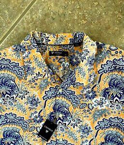 Daniel Cremieux Classics Short Sleeve Shirt XL Orange Multi Paisley NWT $75