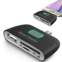 4 in 1 OTG/TF/SD Smart Type-C Card Reader Adapter Micro USB Charge Ports 0cn