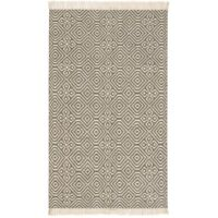 Diamond Pattern Kilim Recycled PET Yarn Rug 3 Sizes  in Grey Fair Trade