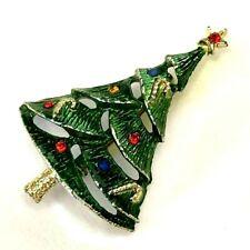 Vintage Beatrix B.J. Christmas Tree Green Enamel Rhinestone Pin Brooch Gold Tone