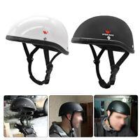 Ultra Motorcycle Half Helmet Flat Matte Black Skull Cap Chopper Cruiser Helmet