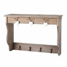 Natural Finish Wooden Shelf With 4 Metal Coat Hooks & White Hanging Hearts Decor