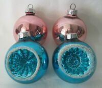 Mercury Glass Style Vintage Pink and Blue Ornaments GDR East Germany 1949-90