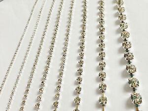 SS10 - SS20 Clear Diamante Crystal Rhinestone Chain Trim Silver Cake Band Ribbon