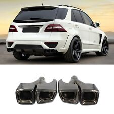 Black AMG Style Exhaust Muffler Tips Quad Outlet For Mercedes Benz C CLS E ML S