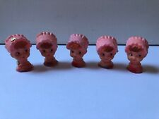 Lot of 5 Vintage Doll Heads Red Hair & Pink Bonnet Doll Repair Parts Craft *New*