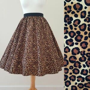 1950s Circle Skirt Classic Leopard Print All Sizes - Rockabilly PinUp Jive Black