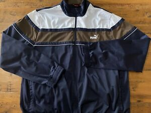 Puma Navy Blue White & Brown Color Block Mens Size 2XL Full Zip Track Jacket