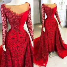 Charming Red Sheath Lace Bead Mermaid Prom Pageant Gown Celebrity Evening Dress