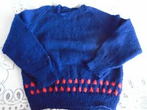 """New Hand Knitted Navy/Red Sweater 26"""" chest (aprox 4yrs)"""