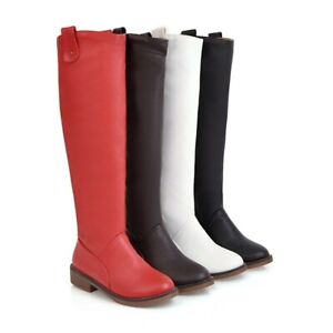 Womens Brogue Shoes Flats Pull On Knee High Riding Boots Rubber Sole Hiking Boot