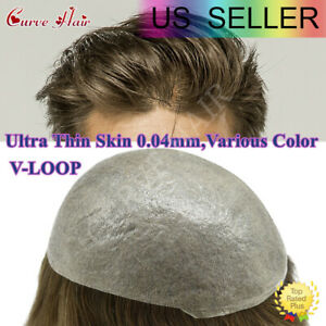 Ultra Thin Skin V-Loop Mens Hair Replacement System PU Wig Poly Toupee Hairpiece
