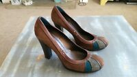 MISS SIXTY BROWN HIGH HEEL COURT SHOES WITH GREY & BLUE TOE SIZE 40 (7)