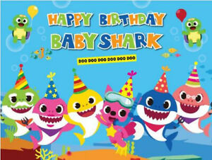 7x5ft baby shark sea ocean underwater baby shower backdrops birthday Background
