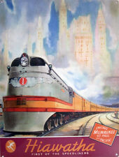 Hiawatha Speedliner Train Chicago Milwaukee St. Paul & Pacific Trans Metal Sign
