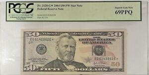 2004 $50 STAR NOTE FR.2128-G* PCGS 69 PPQ Superb Gem New UNC