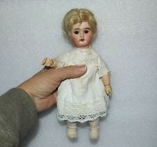 """Antique Bisque Socket Head German or French 10/0 Vtg Jointed Glass Eyes 9"""" Doll"""