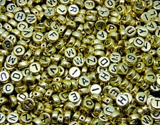 500 Pcs - 7mm Gold Acrylic Coloured Alphabet Round Letter Beads Jewellery M34