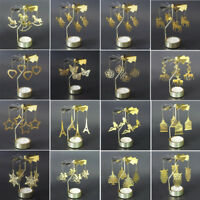 Spinning Rotary Metal Carousel Tea Light Candle Holder Stand Light Decor Gift