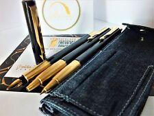 24Ct Gold Plated Vinatge Black Parker Fountain Writing Pen Pencil Set Gift Case