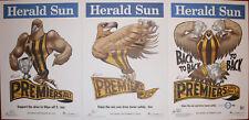 2013 2014 2015 Original Herald Hawthorn Hawks Knight Premiers Poster Premiership