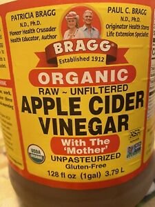 Bragg Organic Raw~Unfiltered Apple Cider Vinegar, 128 fl oz (1 gal)~Best By:2025