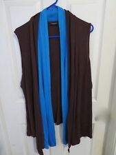 Citiknits Effortless Style Woman Open Front Cover Up Blouse Brown & Turquoise 1X