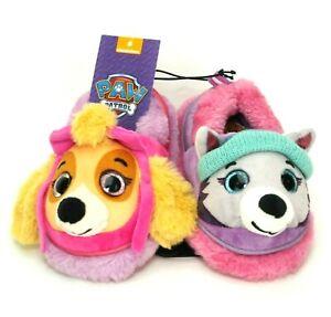 NEW Nickelodeon Paw Patrol Toddler Girls Slippers Rainbow 3D Skye Everest Sz 5-6