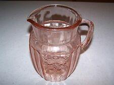 MAYFAIR / OPEN ROSE PINK DEPRESSION GLASS 60 OUNCE 8'' PITCHER