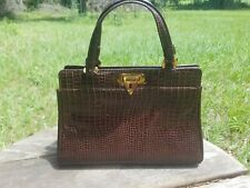 New listing Ronay Vtg 50's Crocodile Like Embossed Medicine Bag Style Purse w/ Gold Trim-Euc