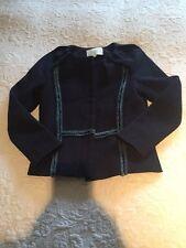 MAJE LORIE Plissé Veste en tweed bleu taille 8 petit (36 euros) très bon état Blazer