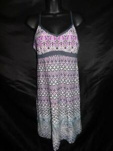 Athleta M Gray White Purple Shorebreak Empire Waist Dress Summer Beach Sun Knee