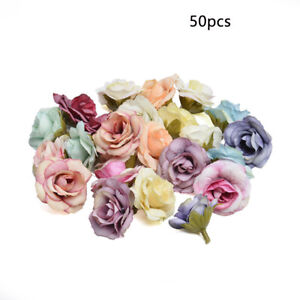 50PCS Artificial Rose Heads Flower Silk Bulk Party Wedding Fake Bouquet Decor