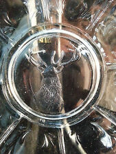 Christmas Crystal Deer Reindeer Plate Dish Vintage Hunt Animal Hunting Unique pc