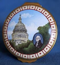 Vintage President George Washington Dc Capitol Halcyon Days Patriotic Enamel Box