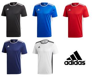 Adidas Entrada Mens Climalite Aeroready Crew Sports Gym Football T Shirt Top